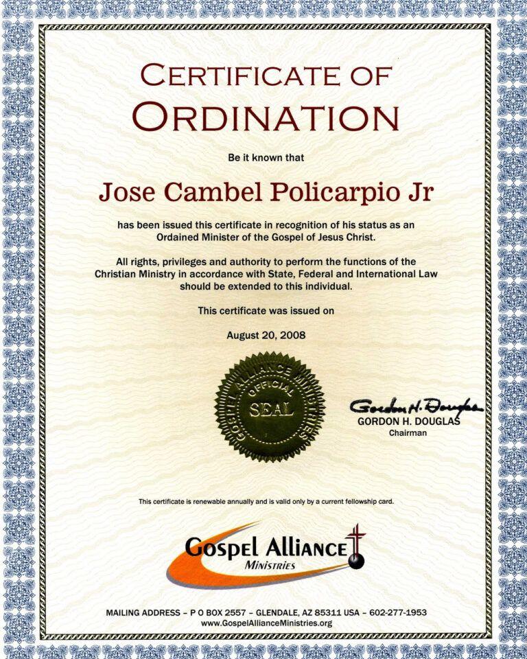 28+ [ Certificate Of Ordination Template ] Elder
