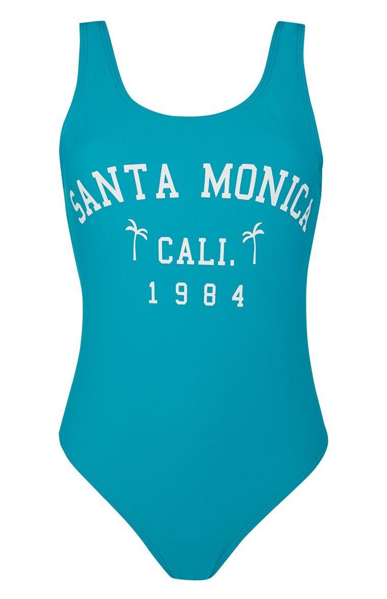 1f984c46d72e4 Primark - Blue Slogan Swimsuit | Swimwear | Swimsuits, Primark, Swimwear
