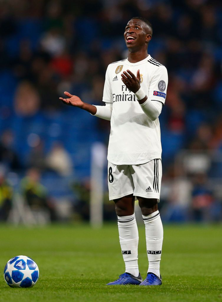 Vinicius Jr Of Real Madrid Reacts During The Uefa Champions League