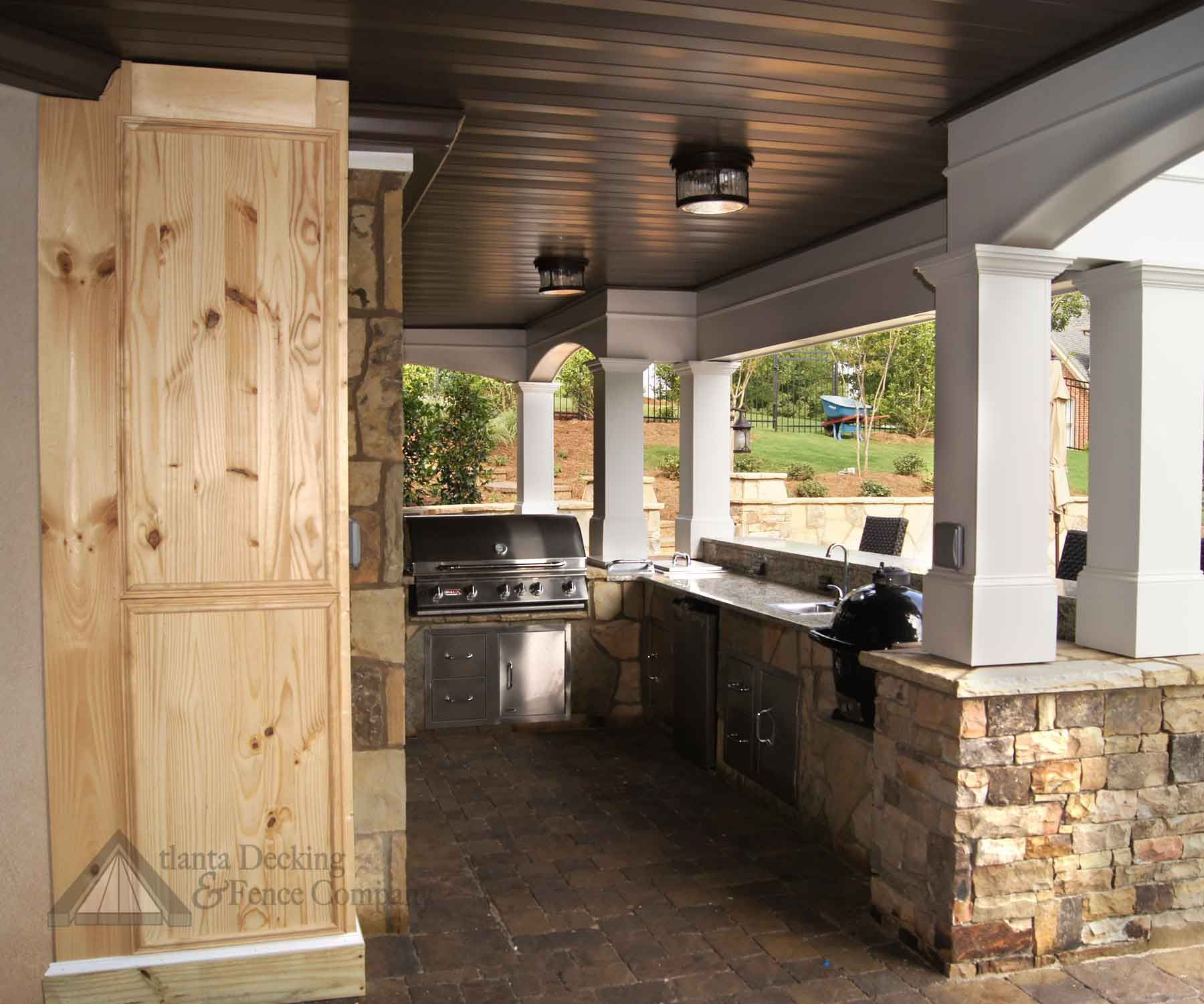 Outdoor kitchen under a small deck hover over the image for Kitchen balcony ideas