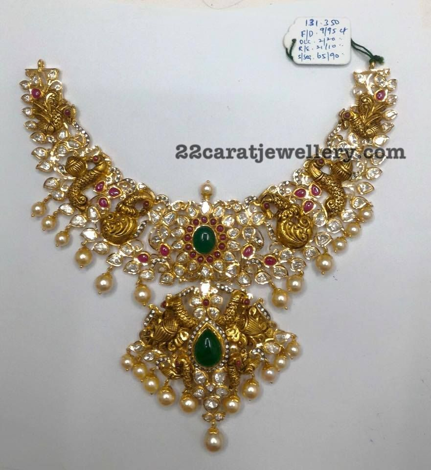 Latest gold necklace designs in grams pachi necklace latest jewellery - 131 Grams Nakshi And Pachi Necklace