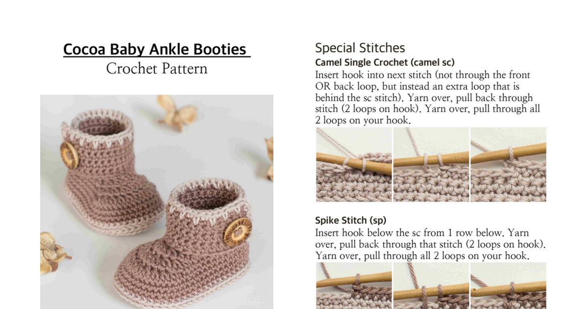 Cocoa Baby Ankle Booties Crochet Pattern.pdf | zapatitos crochet ...