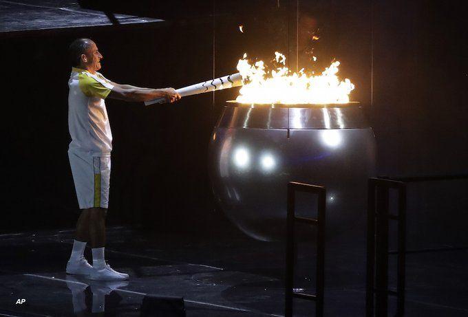 Lighting the cauldron, opening ceremony