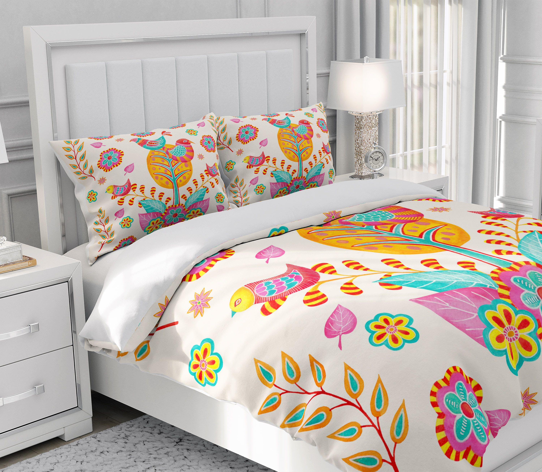 Nordic Folk Art Comforter, Duvet Cover Pillow Shams