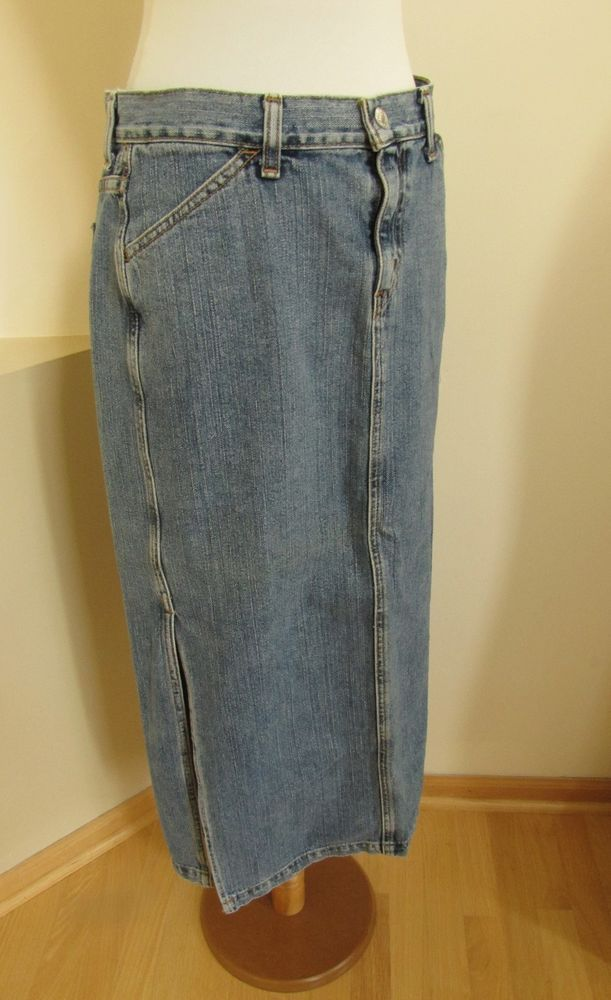 7c07e18538a Levi's Surplus Denim Skirt 12 Jean Maxi Long Medium Side Slit Cotton Modest  33