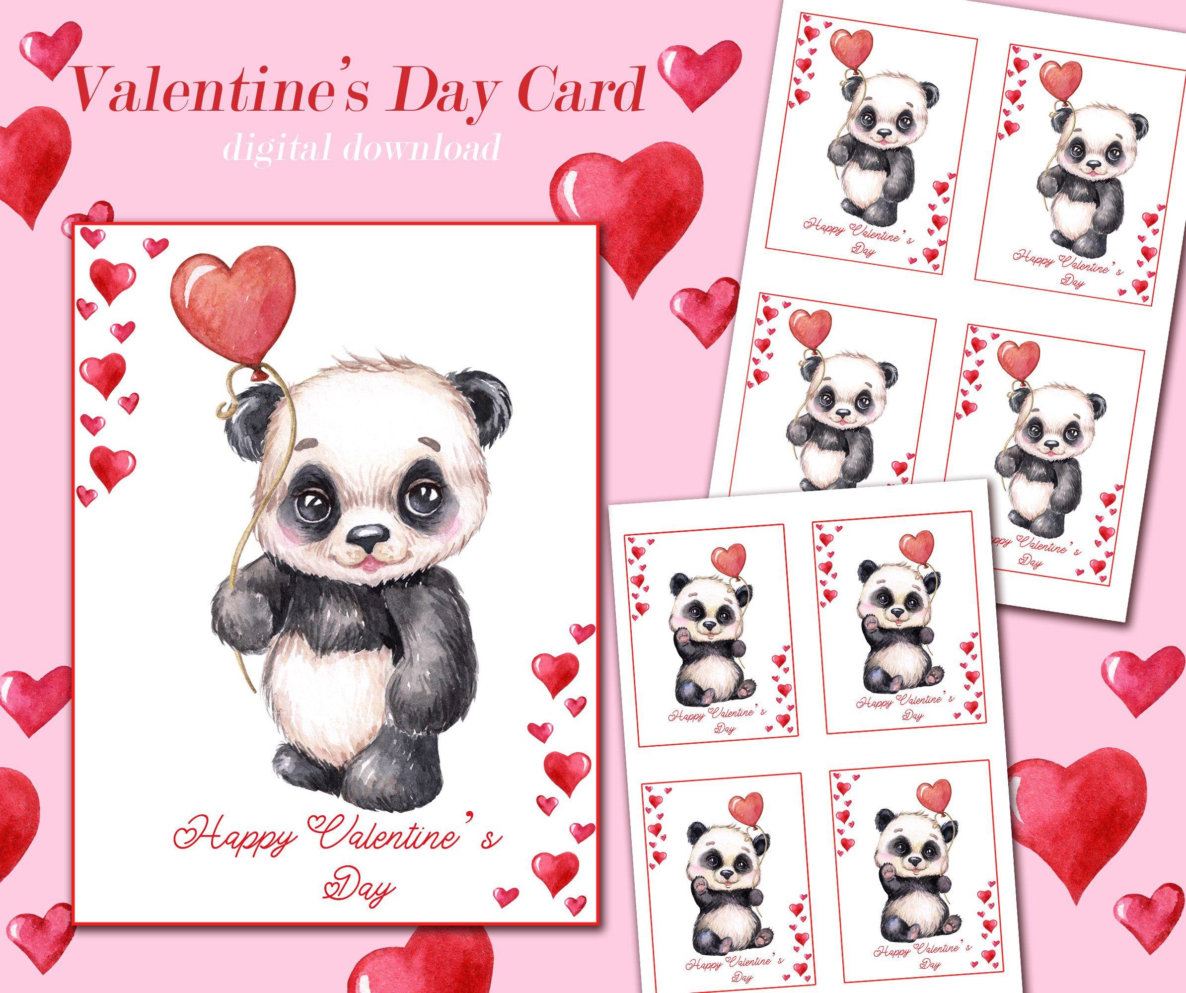 Panda Valentines Card Panda Lovely Valentine S Day