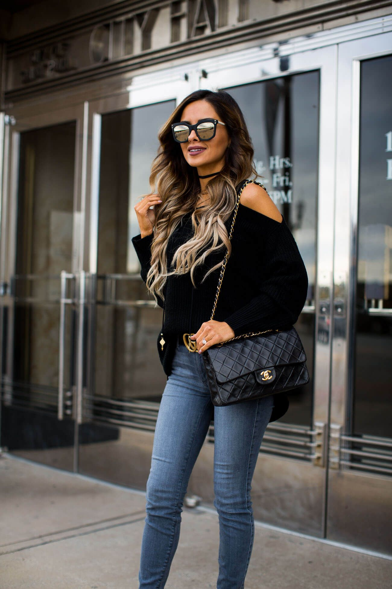 c4965d303b4 fashion blogger mia mia mine wearing mirrored sunglasses from henri bendel  and a chanel bag