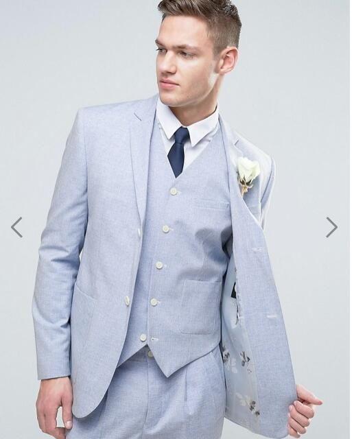 2017 Latest Coat Pant Design Light Blue Beach Wedding Suits for ...