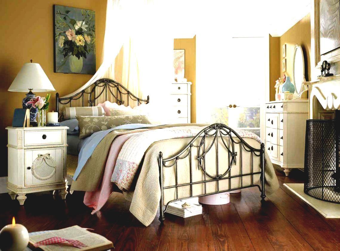 Shabby Chic Bedroom With Dark Furniture Design Ideas
