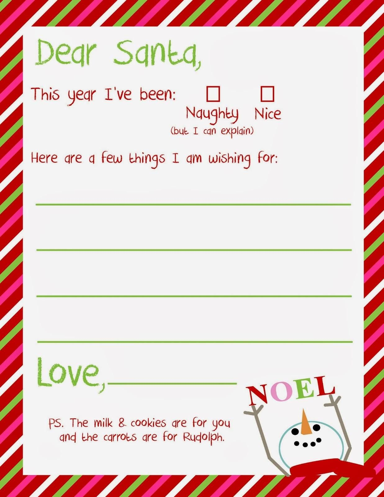 Cute And Simple Letter To Santa For Young Children