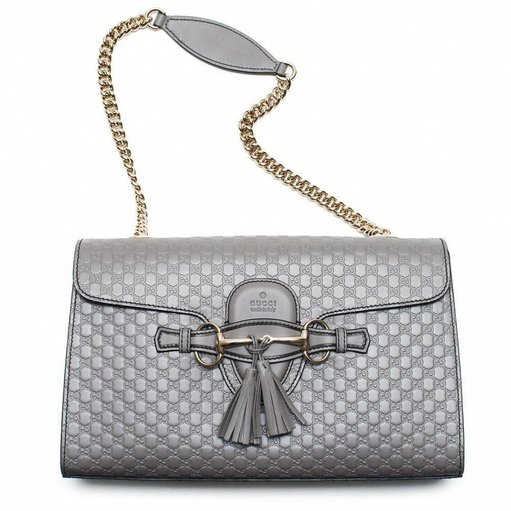 e938139c641 Gucci Emily GG Micro Shoulder Lousse Grey Gray Leather Large bag purse New  Handbag  Burberryhandbags  Pradahandbags