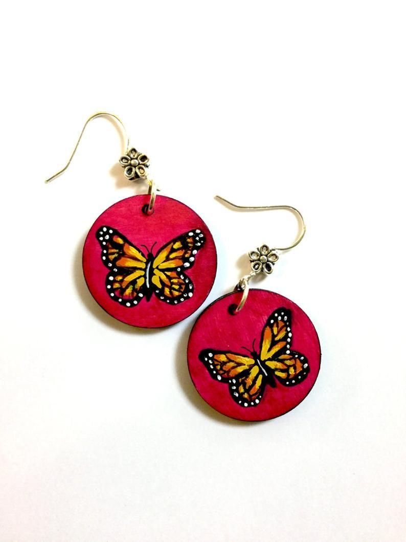 Butterfly Earrings Hand Painted Wooden Monarch Butterfly Etsy In 2021 Hand Painted Necklace Hand Painted Earrings Hand Painted Jewelry