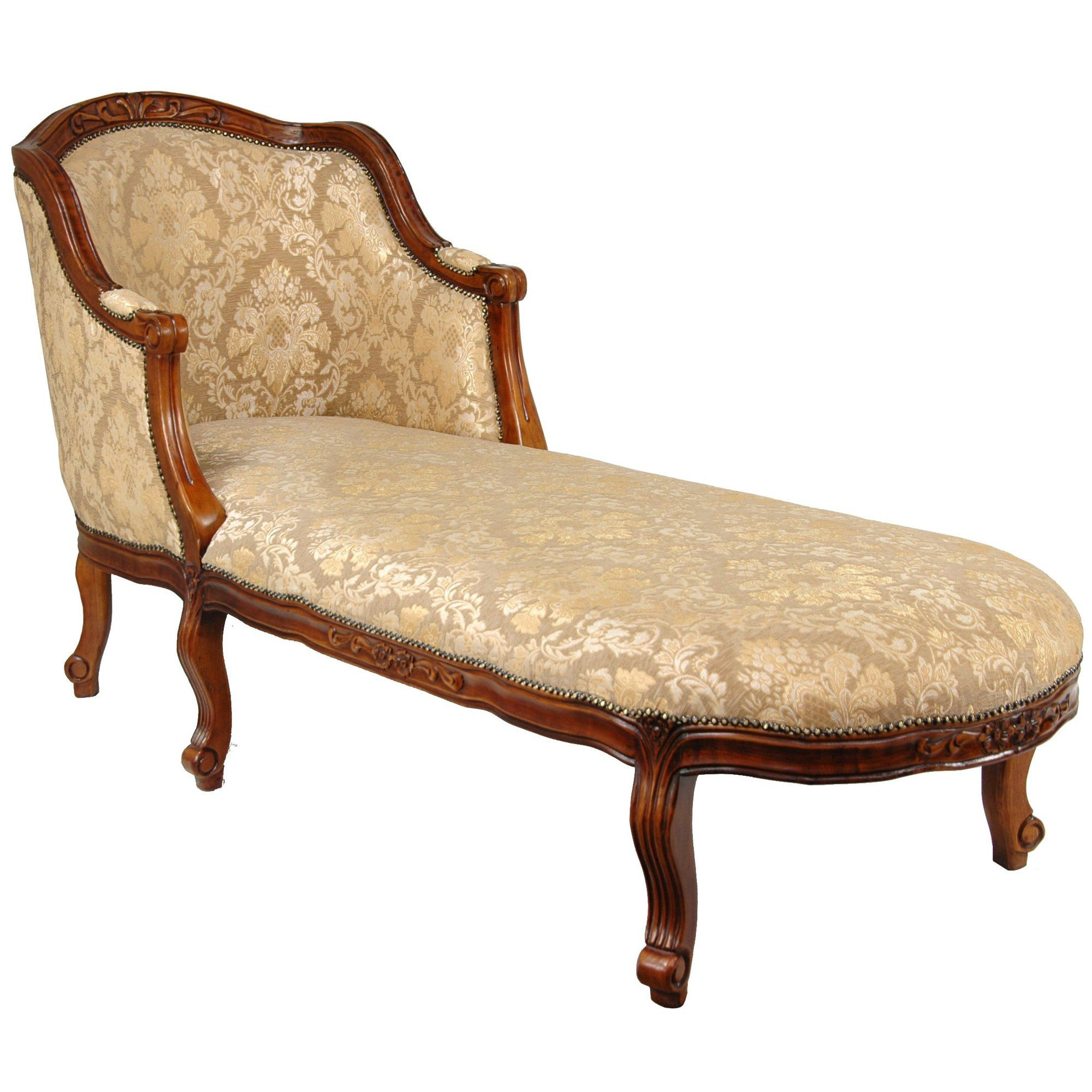 Oriental Furniture Queen Anne Fabric Chaise Lounge