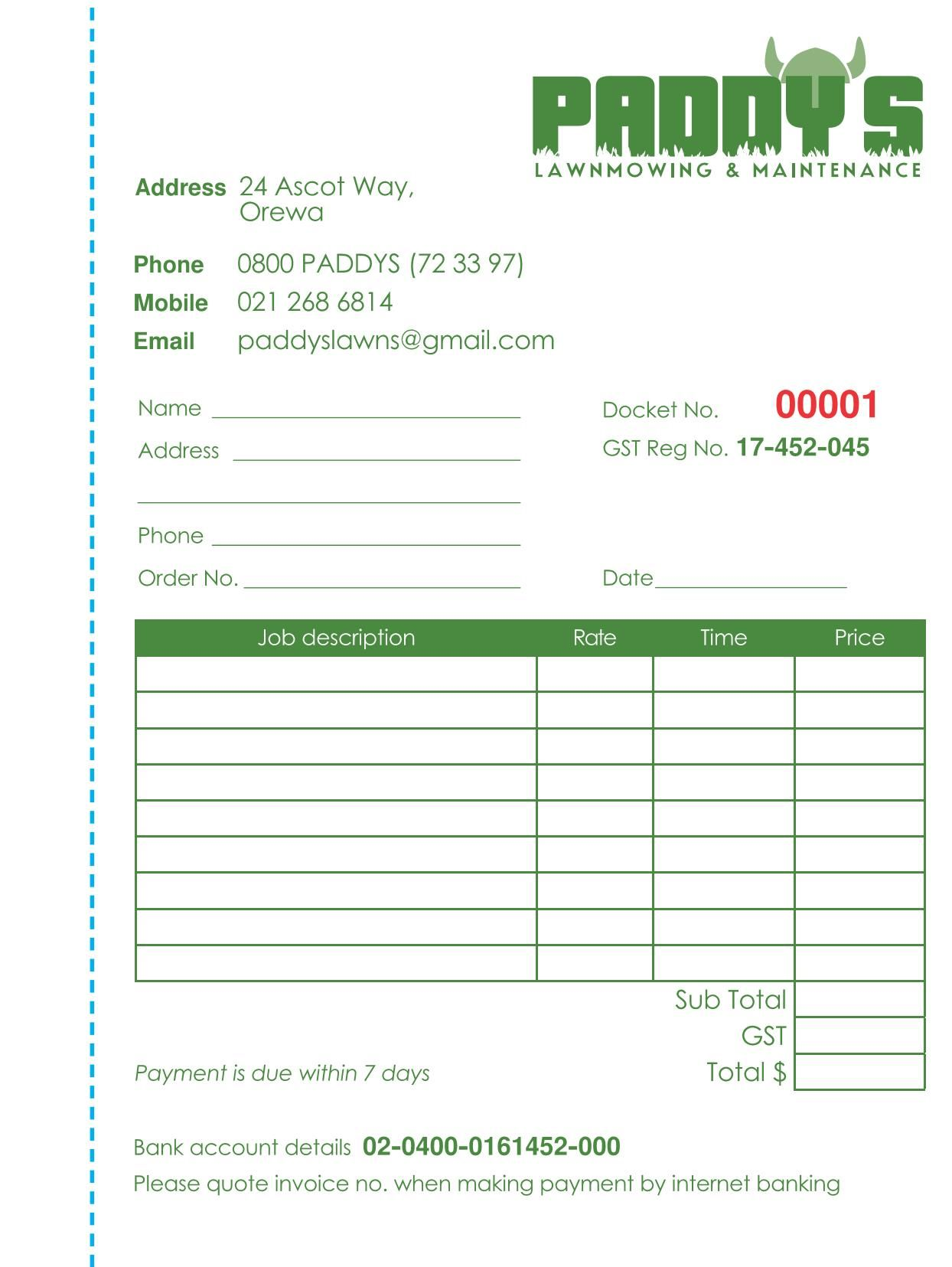 Invoice book design based on required fields. Blue dashes to show perforation/tear off.