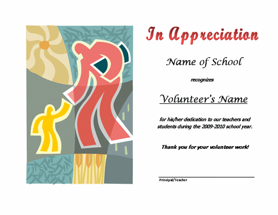 Thank you certificates for volunteers templates certificates thank you certificates for volunteers templates certificates school volunteer appreciation award academic yadclub Images