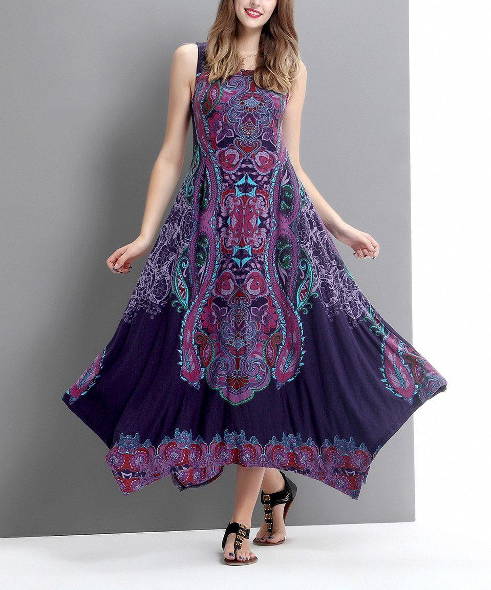 Love this purple paisley scoop neck handkerchief maxi dress by