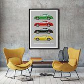 Porsche 911 poster, Race car print, Car illustration, Kids room decor, Car print…