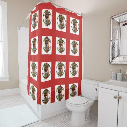 Christmas Fox With Poinsettia Shower Curtain   Xmas ChristmasEve Christmas  Eve Christmas Merry Xmas Family Kids