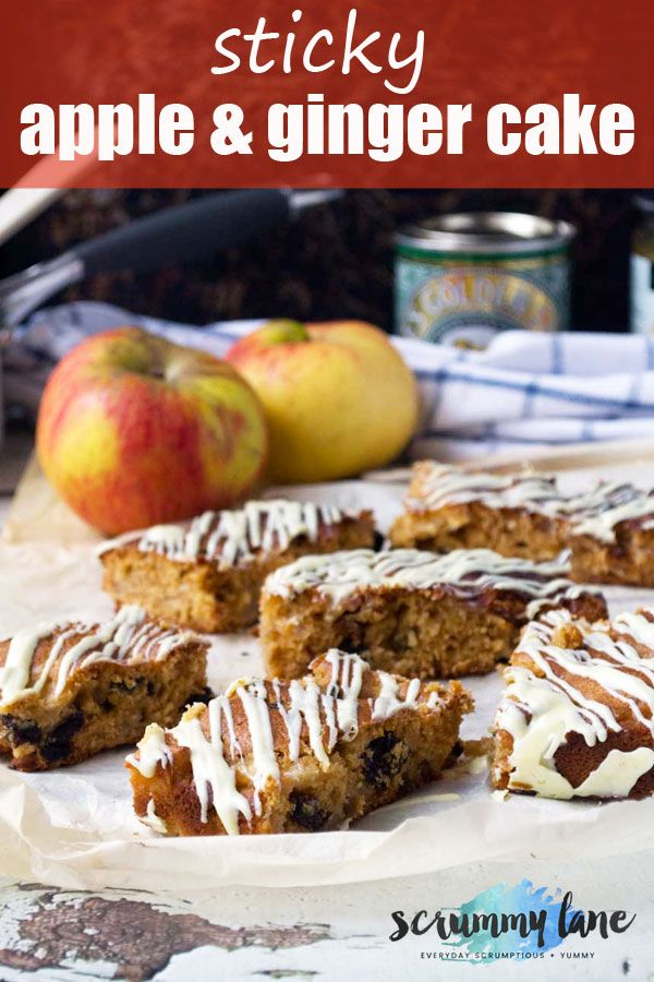 Sticky apple and ginger cake Imagine a cross between gingerbread and and an apple tray bake - this sticky apple and ginger cake is it! One bowl,10 mins to make, and 30 mins to bake.