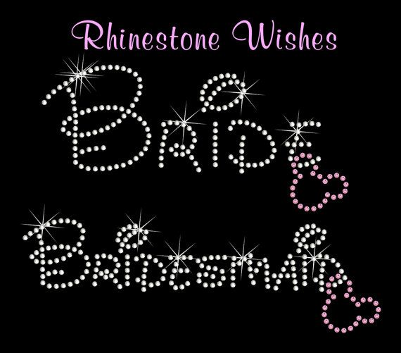 Bride Bachlorette Party Iron on Rhinestone Transfer BLING Wedding Bridesmaid