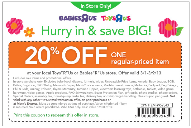 graphic relating to Babies R Us Coupons Printable called 20% off a one merchandise at Toys R Us Toddlers R Us coupon through