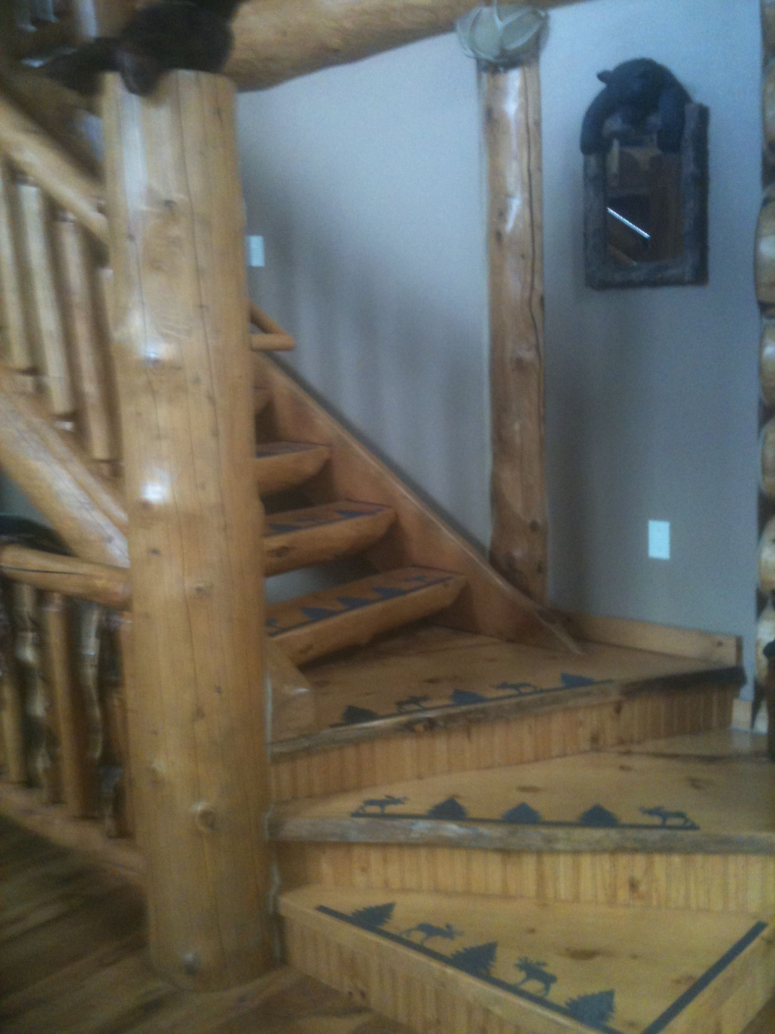 Log staircase at the cabin