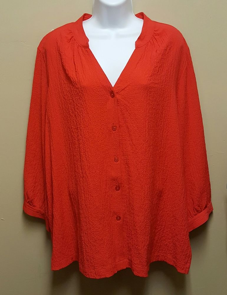 White Stag XXL Red Crinkle Seersucker Buton Down Top Shirt Blouse Valentines Day #WhiteStag #Blouse #Party