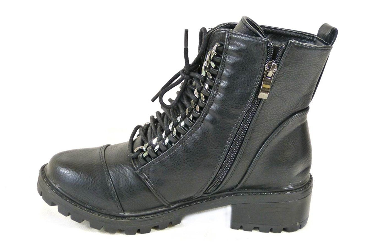 053b3a42f78a LADIES WOMENS PUNK GOTH EMO BIKER BLACK ANKLE LACE UP CHAIN EYELET ZIP UP BOOT  SHOES