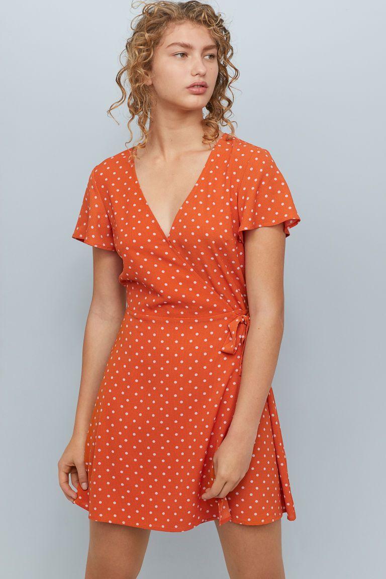 7eca2132e152e3 Patterned Wrap-front Dress - Orange dotted - Ladies