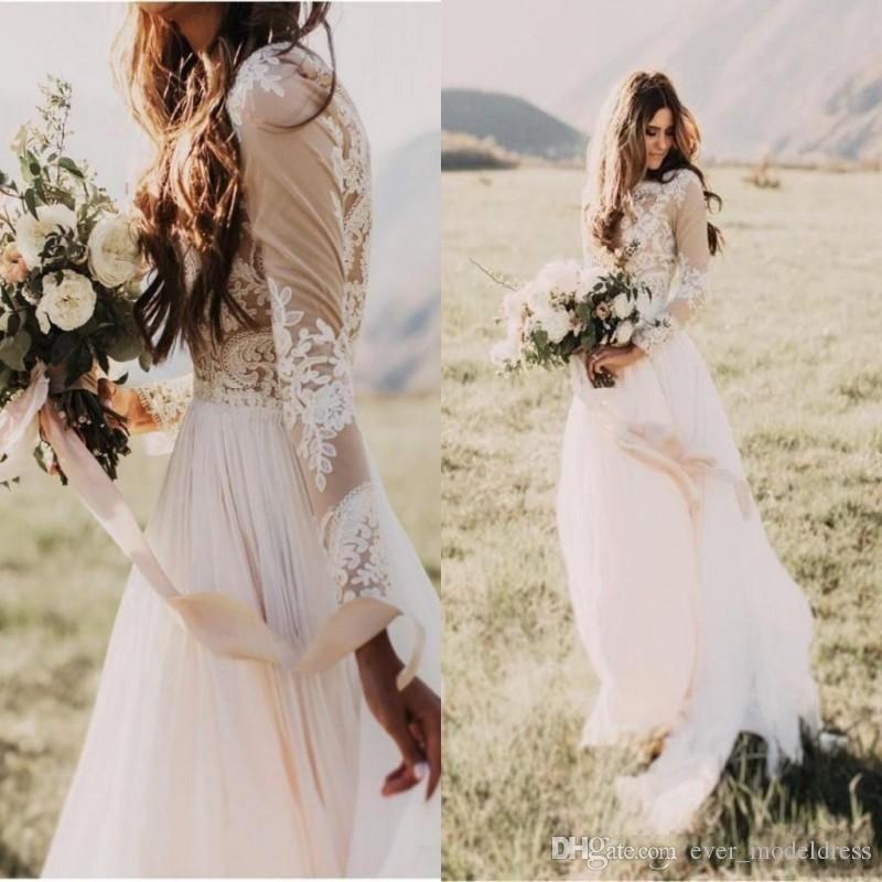 2017 Vintage Cheap Wedding Dresses Ivory Long Sleeves Bohemian ...