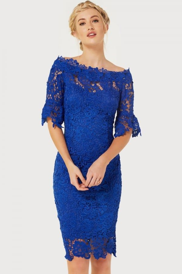 555943767b01 Paper Dolls Blue Crochet Dress Blue Lace, Bardot Dress, Crochet Lace, Wallis ,