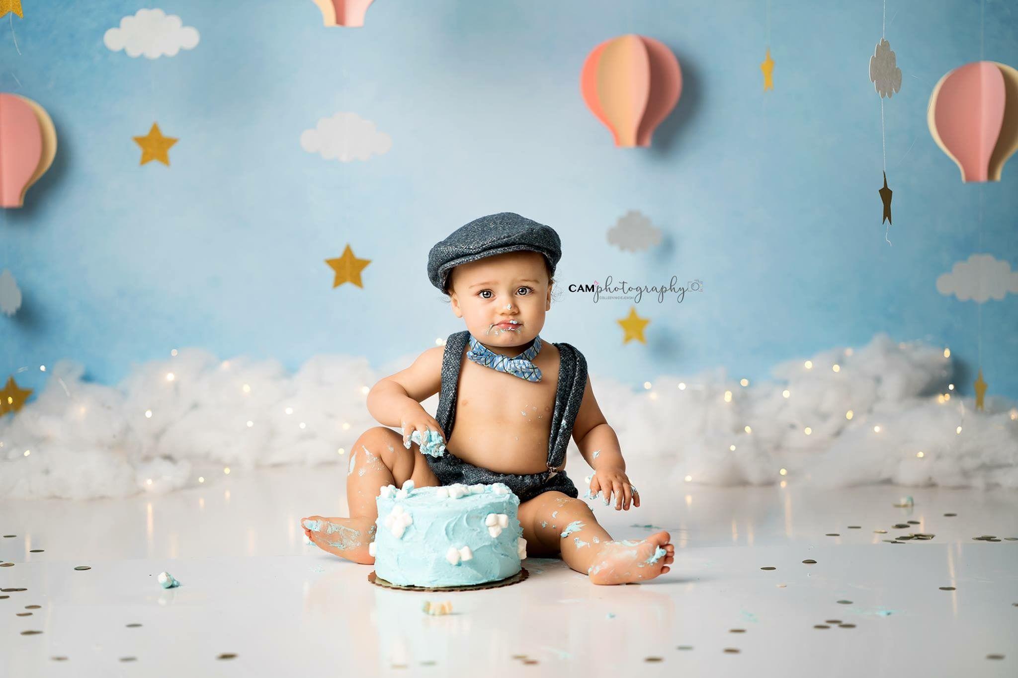 Boy Cake Smash Photography Up Up And Away Cake Smash Balloon