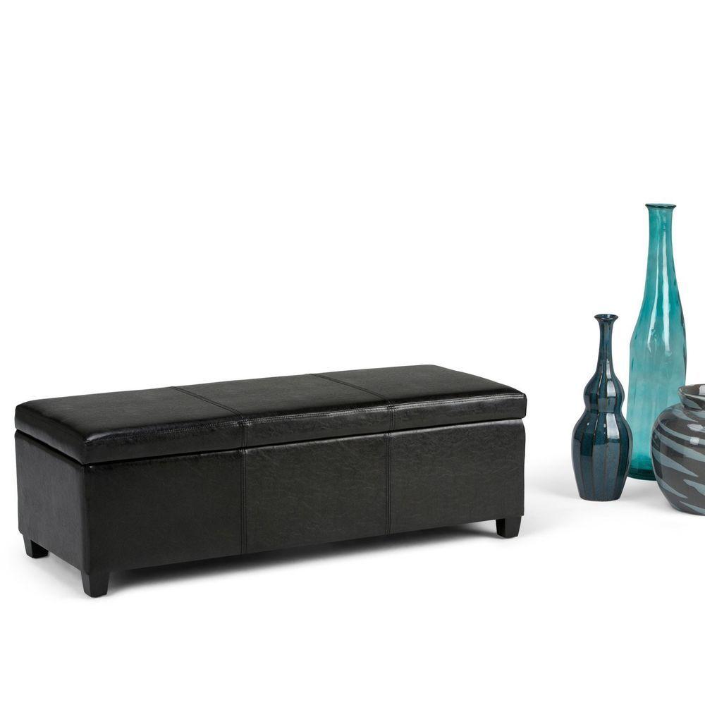 Storage Bench Seat Lift Top Chest Ottoman 48\