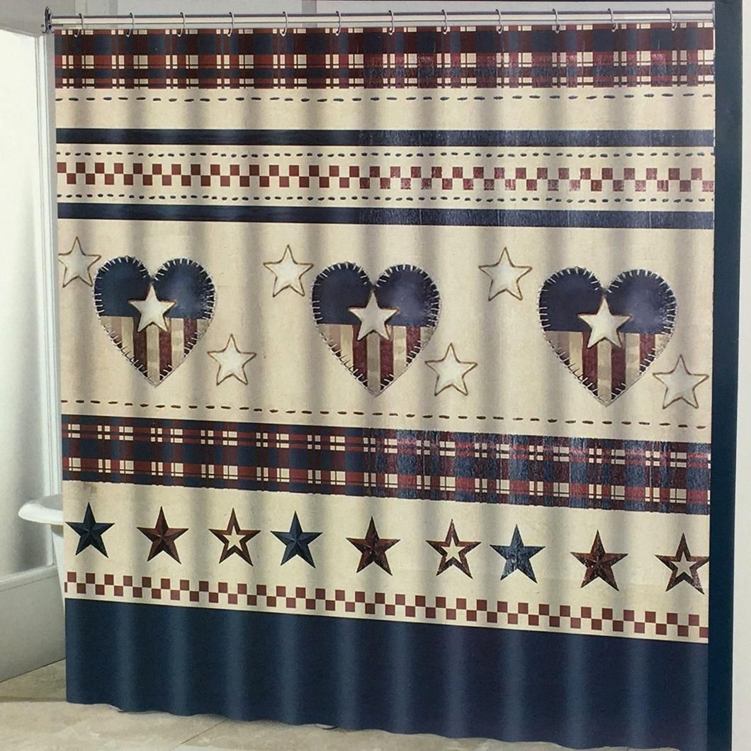 Americana Patriotic Hearts With Stars And Stripes Fabric Shower