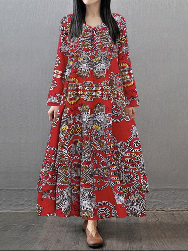 28bfe66254 Women Printed V-neck Long Sleeve Maxi Vintage Dresses   NC*Vintage ...