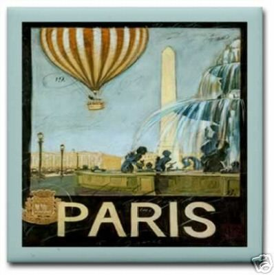 Vintage Paris France Balloon Travel Ad