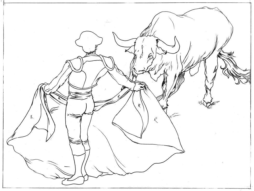 Matador And Bull Drawing