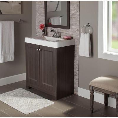 Glacier Bay Shaila 305 Inw Bath Vanity In Silverleaf With Best White Bathroom Vanity Home Depot Design Decoration