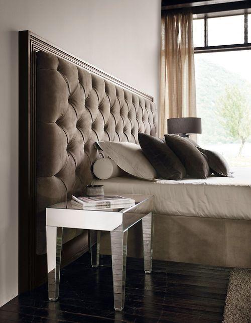 mirrored night stand + tufted headboard | La sastreria de muebles ...