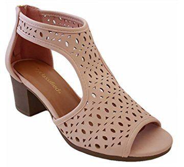 2aae830029e Peep Toe Ankle Strap Sandal – Western Bootie Low Stacked Heel Open Toe  Cutout Velcro – Casual by J Adams