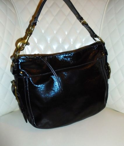 Spain Im Auctioning Coach Zoe Black Patent Leather Hobo E76e9 6a9c5