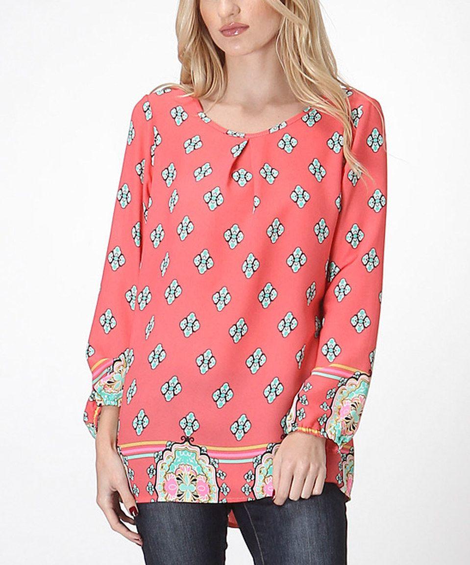 963f6bfa Look what I found on #zulily! Coral Arabesque Pleated Tunic - Women by LARA  Fashion #zulilyfinds