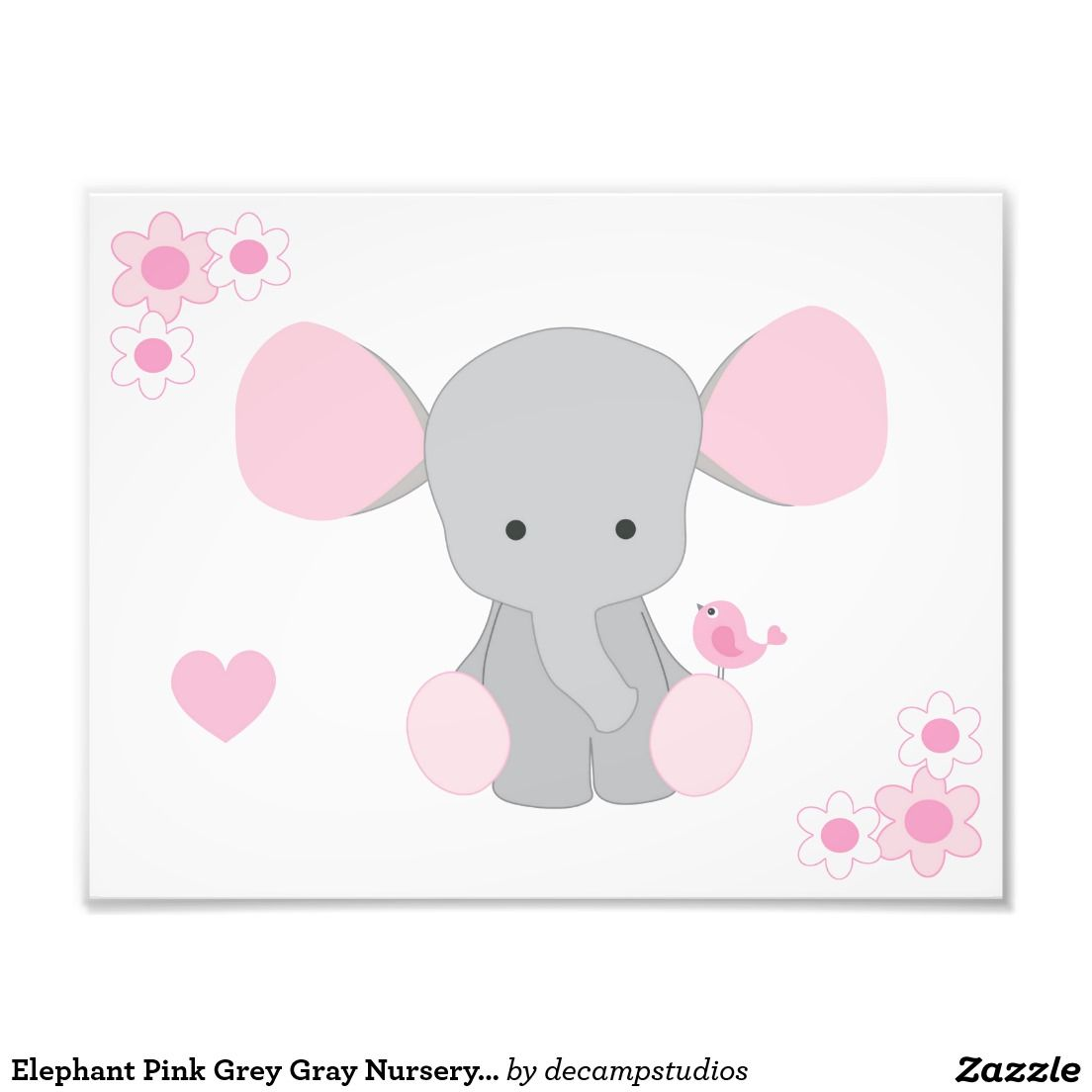 Elephant Pink Grey Gray Nursery Baby Girl Wall Art ...