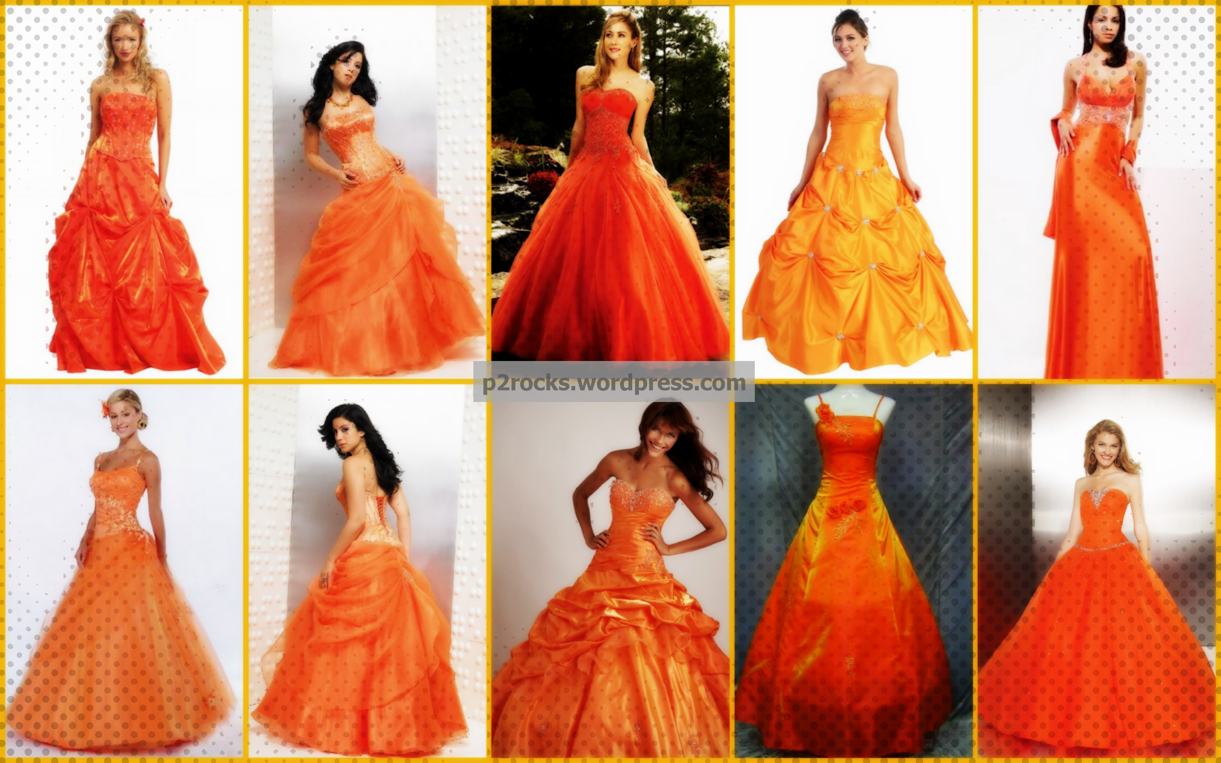 Go for these lovely orange wedding dresses pinterest orange orange wedding dresses i love the 3rd one in on the bottom junglespirit Images
