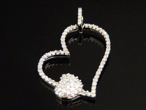 14k White Gold Dual Heart Pendant Authentic by DFineLifestyle, $460.00