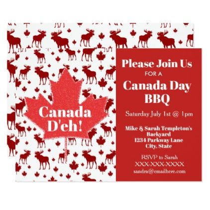 Canada Day Party Invitations Moose and Maple Leaf invitations