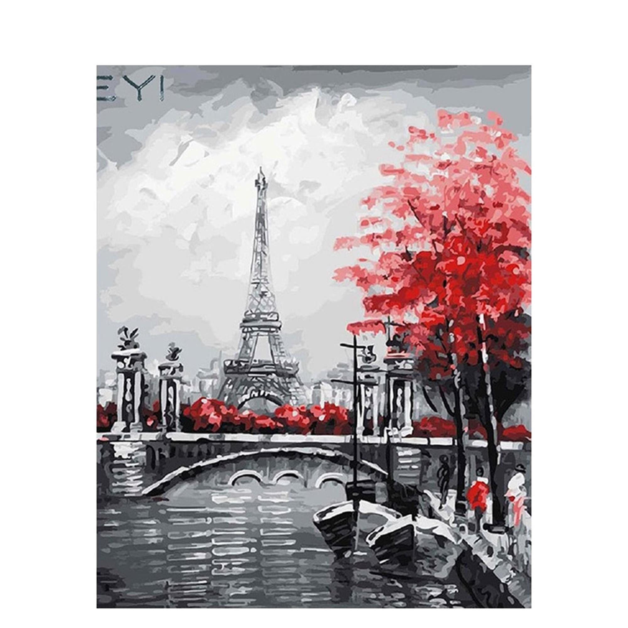 Senza Telaio RYQRP Dipingere con i Numeri Torre Eiffel Champagne Oil Painting by Numbers Digitale Pittura a Olio Kits Fai da Te per Adulti Bambini Principiante 40cmx50cm
