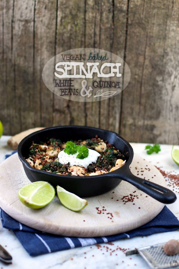 Baked Spinach with White Beans and Quinoa