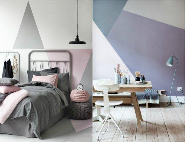Wand Streichen Muster Schlafzimmer #24: Wand Streichen Muster-ideen-abstrakt-schlafzimmer-homeoffice