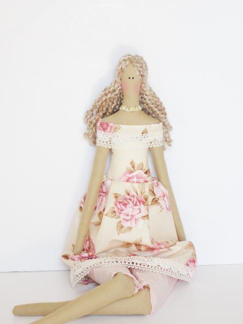 Fabric doll pink rose pastel dress blonde ♡ by HappyDollsByLesya